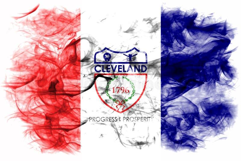 Флаг задымления городов Кливленда, положение Огайо, Соединенные Штаты Америки иллюстрация вектора