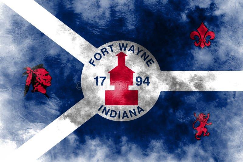 Флаг задымления городов Fort Wayne, положение Индианы, Соединенные Штаты Amer иллюстрация вектора