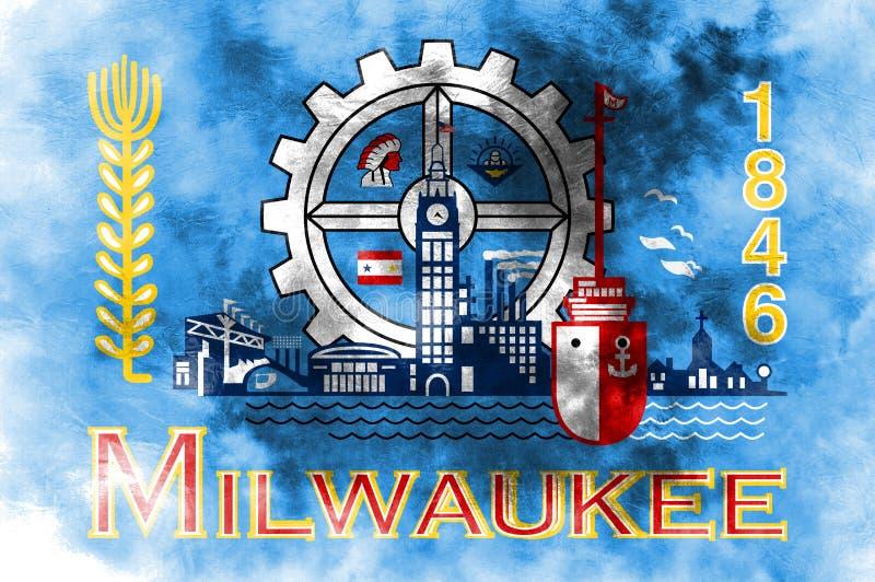 Флаг задымления городов Milwaukee, положение Висконсина, Соединенные Штаты Ame иллюстрация вектора