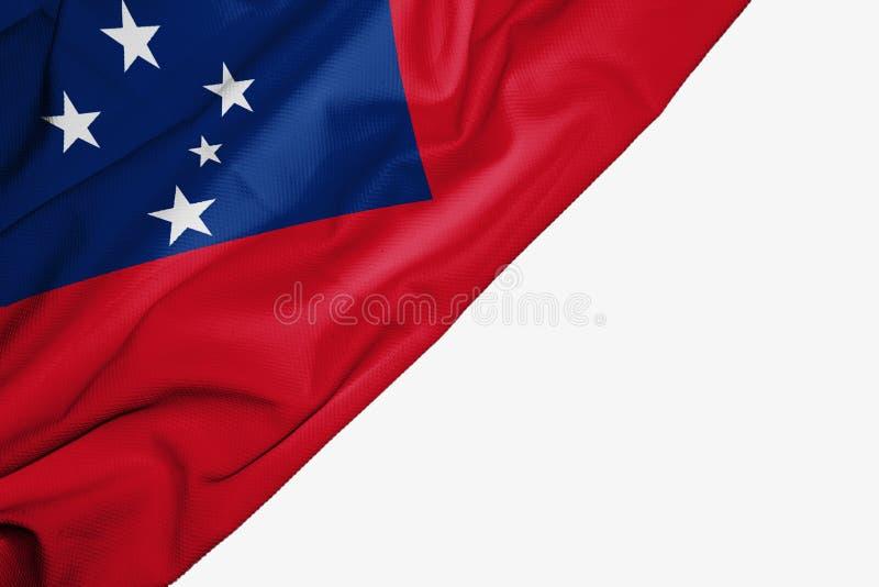 Флаг Западного Самоа ткани с copyspace для вашего текста на белой предпосылке иллюстрация штока