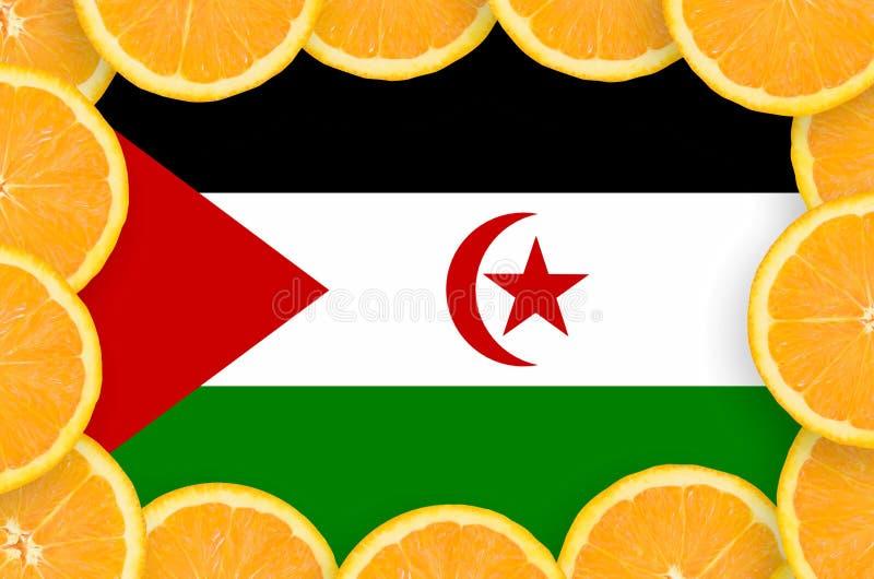 Флаг Западной Сахары в свежей рамке кусков цитрусовых фруктов бесплатная иллюстрация