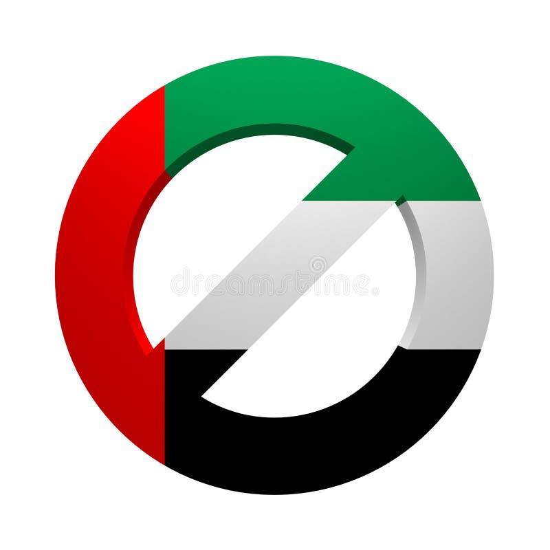 Флаг запрета покрашенный знаком ОАЭ иллюстрация вектора