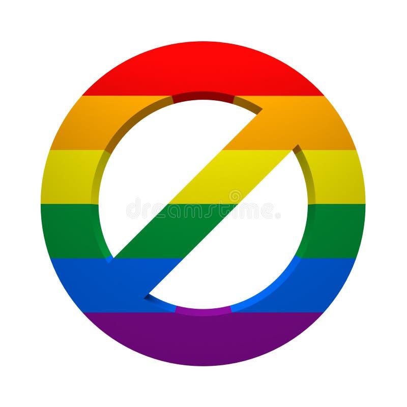 Флаг запрета покрашенный знаком LGBT иллюстрация штока