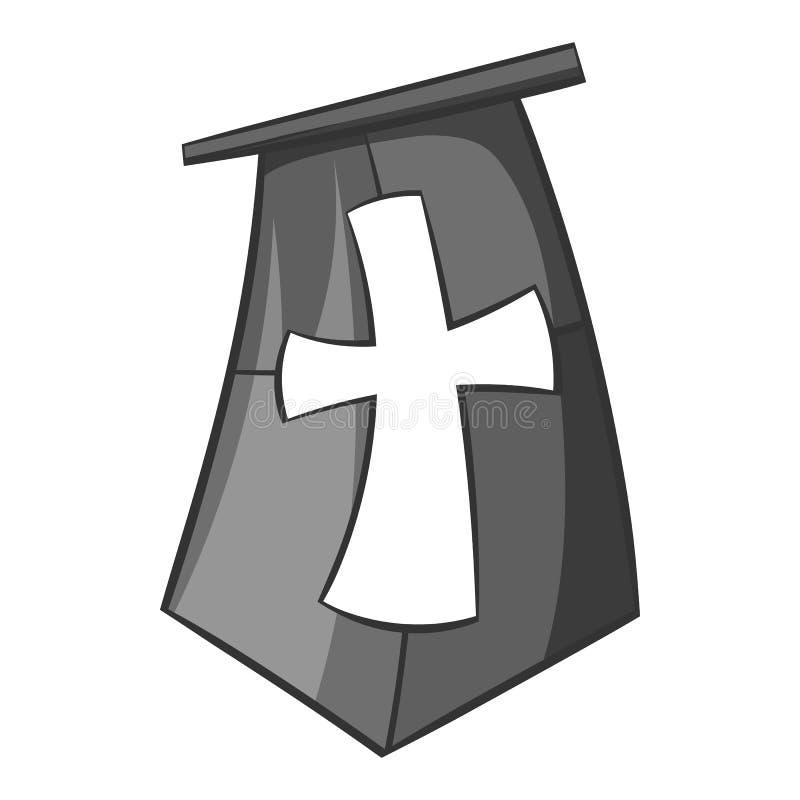 Флаг значка крестоносцев, черного monochrome стиля иллюстрация штока