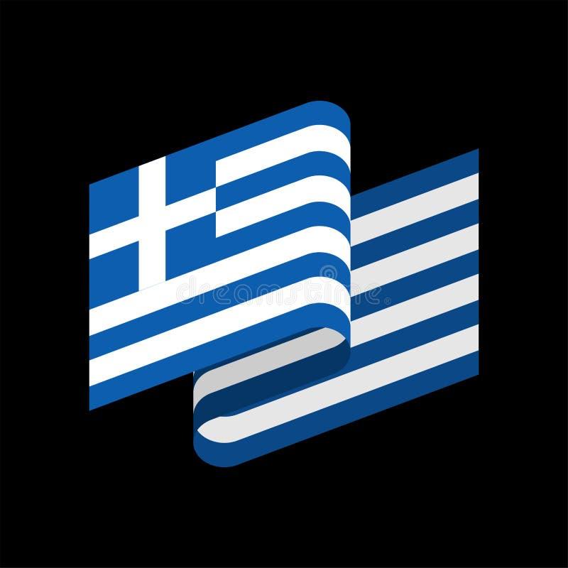 флаг изолированная Греция Греческое знамя ленты Символ положения иллюстрация штока