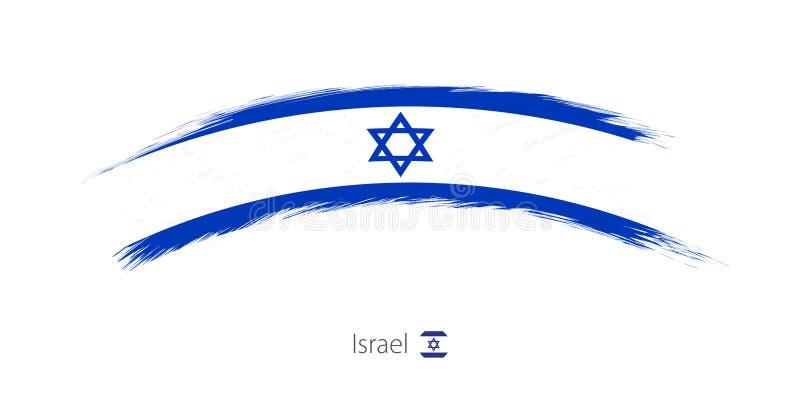 Флаг Израиля в округленном ходе щетки grunge иллюстрация вектора