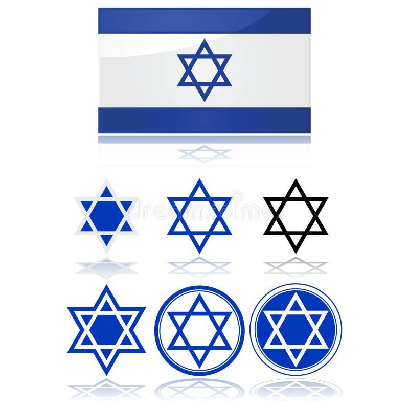 Флаг Израиля и звезда Дэвида Стоковые Фото