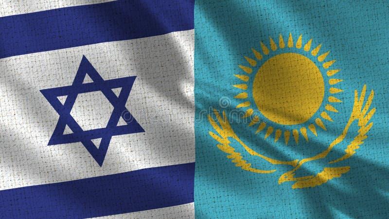 Флаг Израиля и Казахстана - 2 флага совместно стоковое изображение rf
