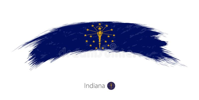 Флаг Индианы в округленном ходе щетки grunge иллюстрация штока