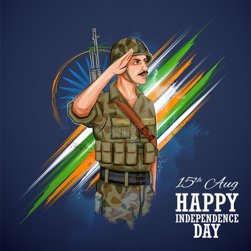 Флаг индийского soilder армии салютуя Индии с гордостью иллюстрация штока