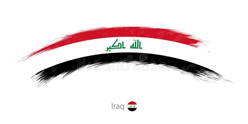 Флаг Ирака в округленном ходе щетки grunge иллюстрация вектора