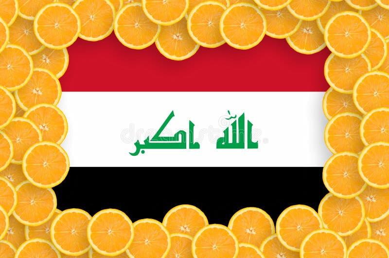 Флаг Ирака в свежей рамке кусков цитрусовых фруктов иллюстрация вектора