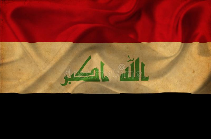 Флаг Ирака развевая иллюстрация вектора
