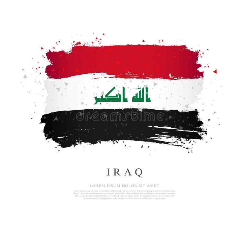 Флаг Ирака Ходы щетки нарисованы вручную иллюстрация штока