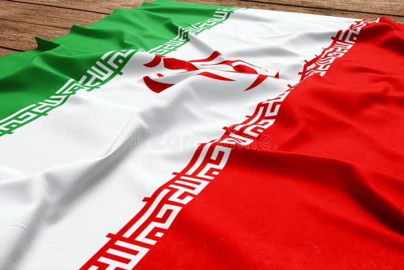 Флаг Ирана на деревянной предпосылке стола Взгляд сверху флага шелка иранский стоковые фотографии rf