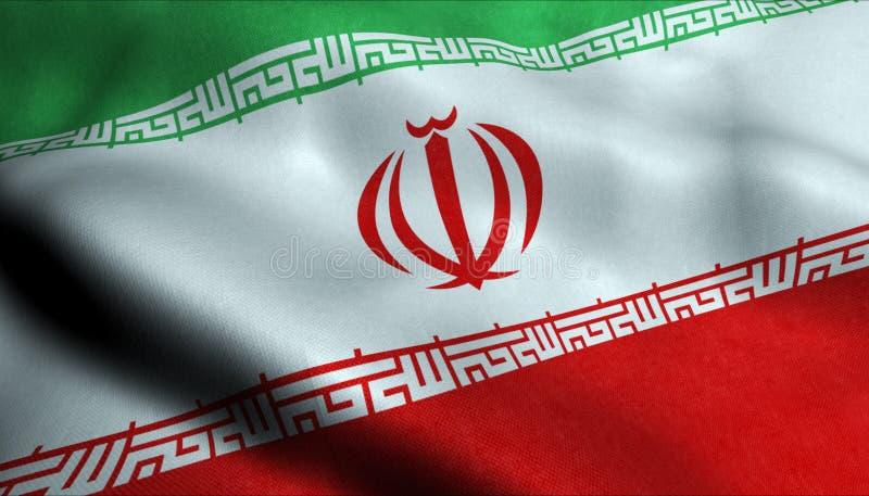 Флаг Ирана развевая в 3D иллюстрация вектора