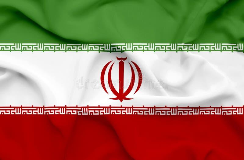 Флаг Ирана развевая иллюстрация штока