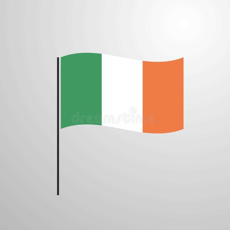 Флаг Ирландии развевая иллюстрация штока