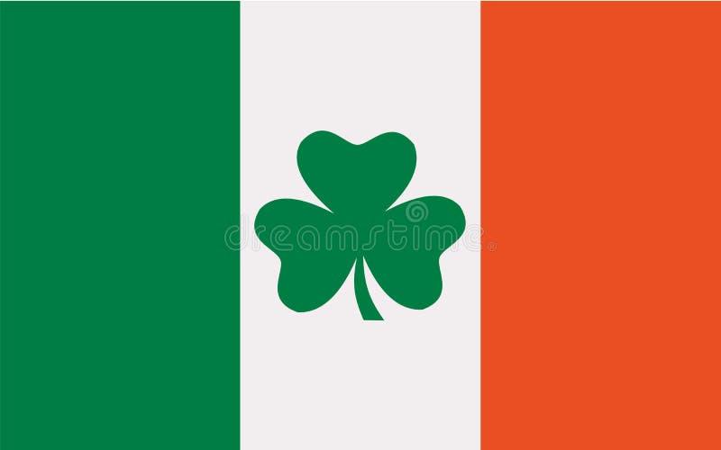 Флаг Ирландии с клевером иллюстрация вектора