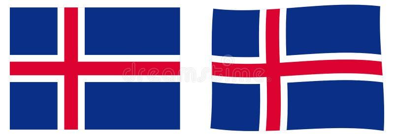 Флаг Исландии Простая и немножко развевая версия иллюстрация вектора
