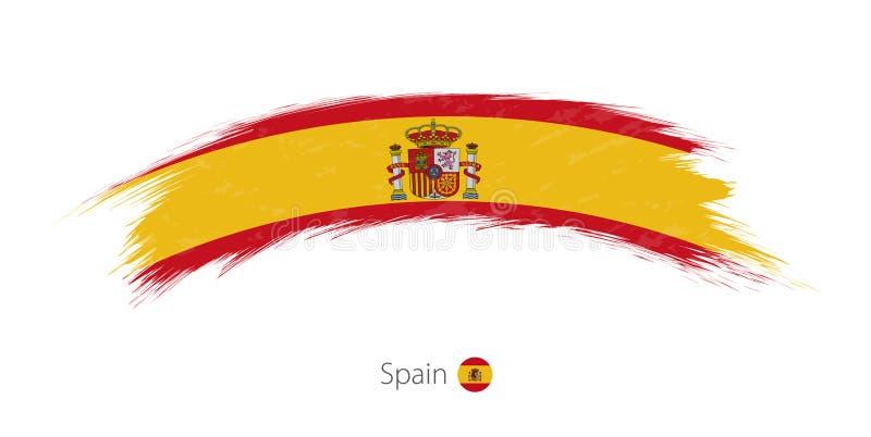 Флаг Испании в округленном ходе щетки grunge иллюстрация вектора