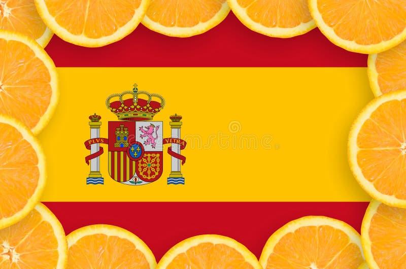 Флаг Испании в свежей рамке кусков цитрусовых фруктов бесплатная иллюстрация