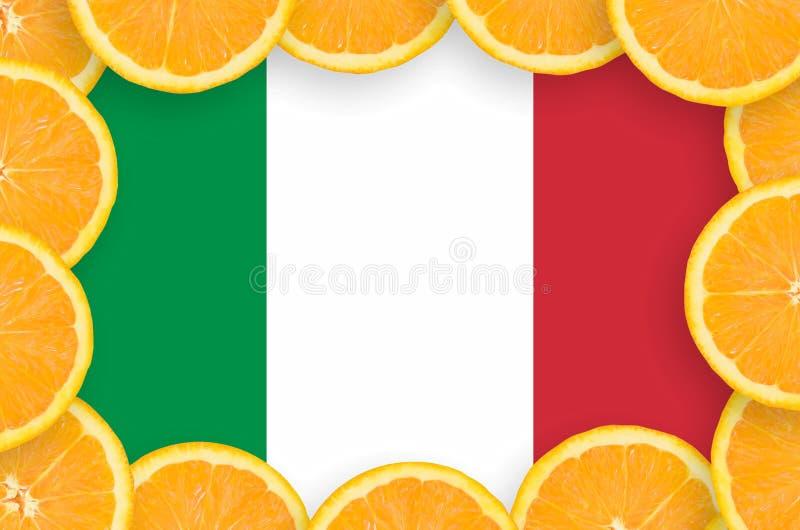 Флаг Италии в свежей рамке кусков цитрусовых фруктов бесплатная иллюстрация
