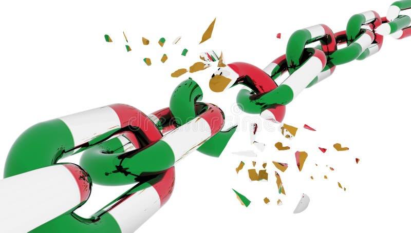 Флаг Италии итальянский треснул сломленное иллюстрация вектора