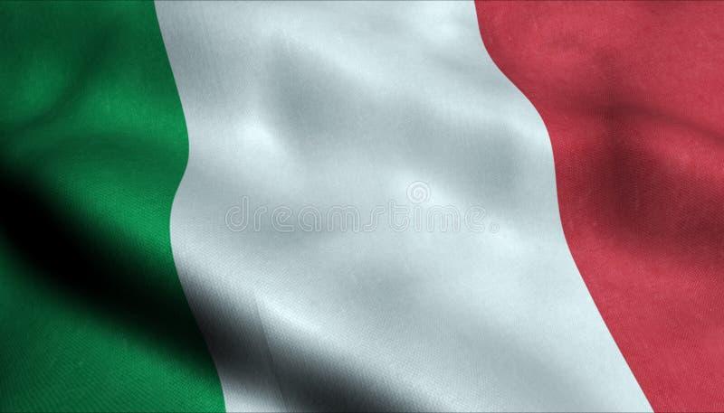 Флаг Италии развевая в 3D иллюстрация вектора