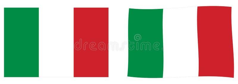 флаг Италия Простая и немножко развевая версия бесплатная иллюстрация
