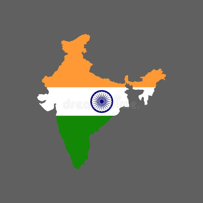 Флаг и карта Индии бесплатная иллюстрация