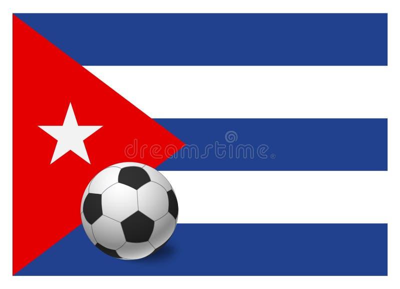 Флаг и футбольный мяч Кубы иллюстрация вектора