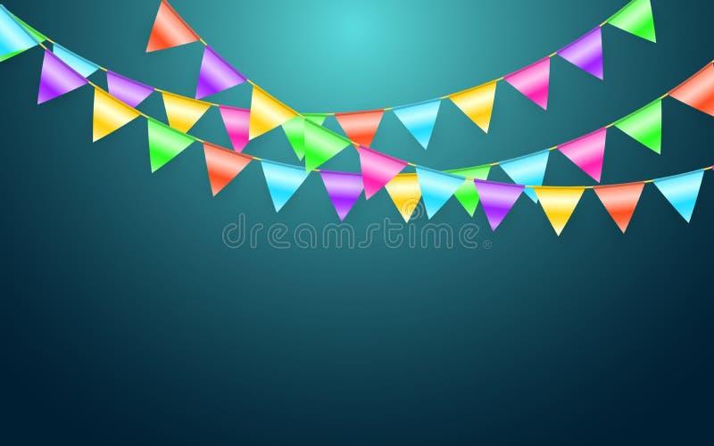 Флаг и confetti гирлянды в концепции партии и наслаждения Шаблон предпосылки торжества также вектор иллюстрации притяжки corel иллюстрация вектора