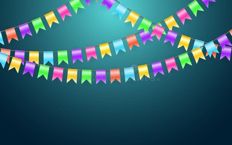 Флаг и confetti гирлянды в концепции партии и наслаждения Шаблон предпосылки торжества также вектор иллюстрации притяжки corel иллюстрация штока