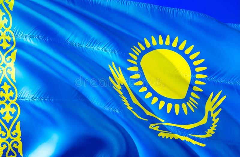 Флаг Казахстана развевая дизайн флага 3D Национальный символ Казахстана, перевода 3D Национальные цвета и национальный СНГ флаг  стоковая фотография rf