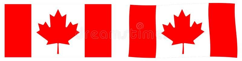 флаг Канады Простая и немножко развевая версия иллюстрация вектора