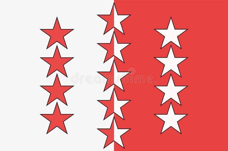 Флаг кантона Вале в Швейцарии иллюстрация штока