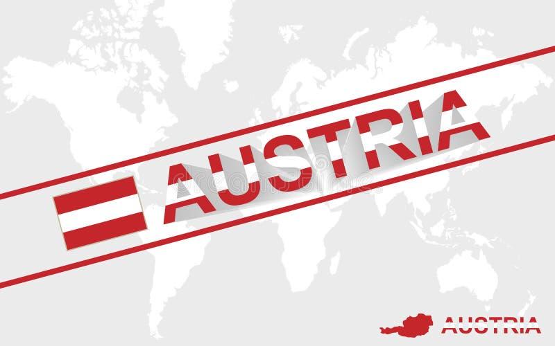 Флаг карты Австрии и иллюстрация текста бесплатная иллюстрация