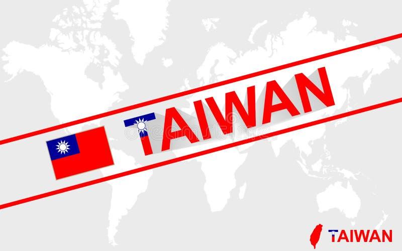 Флаг карты Тайваня и иллюстрация текста бесплатная иллюстрация
