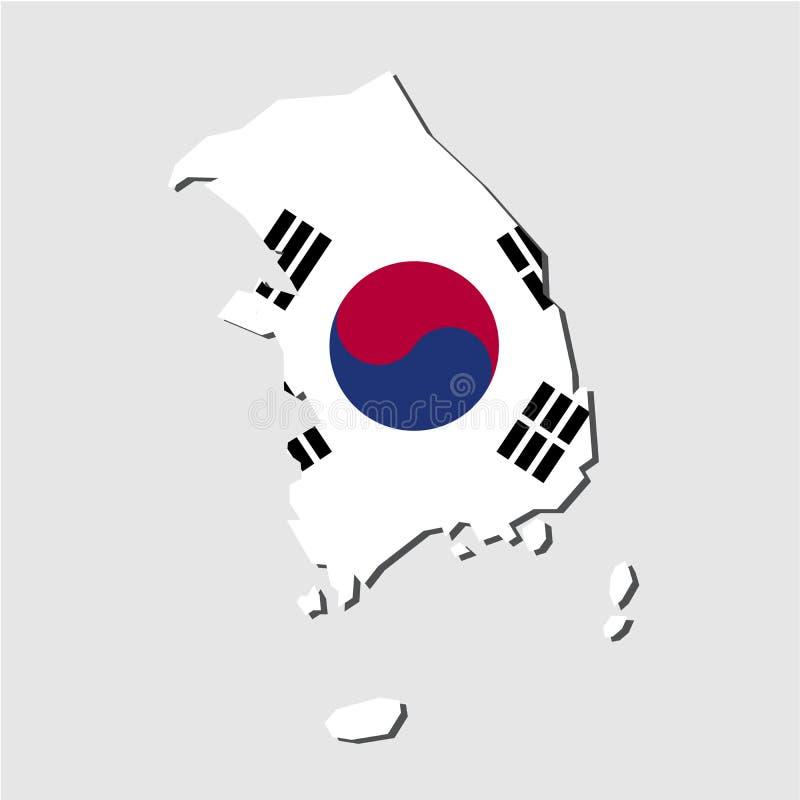 Флаг карты Южной Кореи, карта Южной Кореи с вектором флага бесплатная иллюстрация