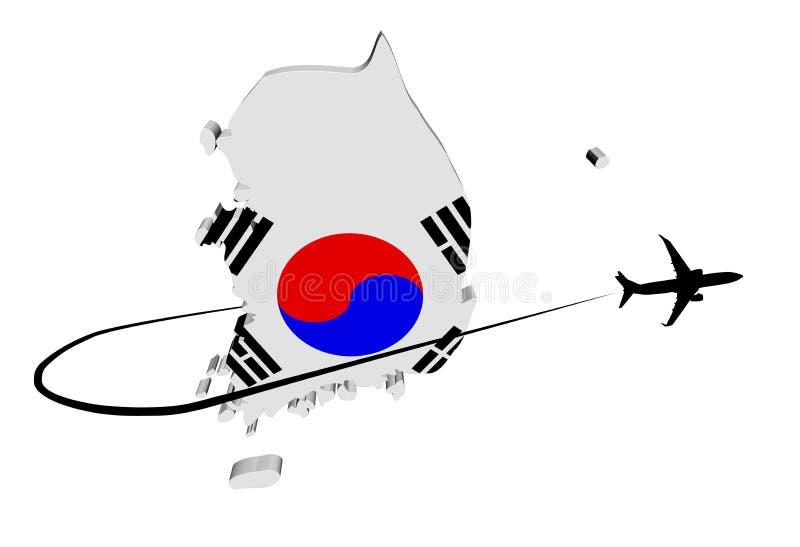 Флаг карты Южной Кореи с иллюстрацией самолета и swoosh иллюстрация вектора