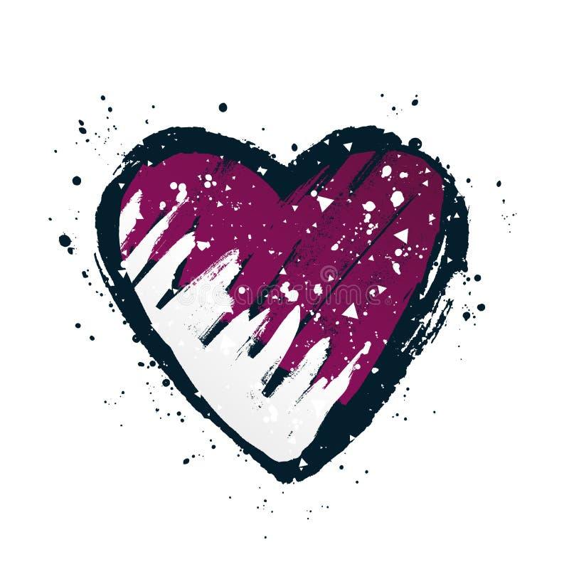 Флаг катарца в форме большого сердца r бесплатная иллюстрация