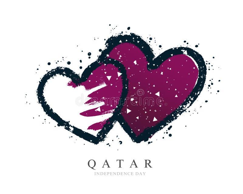 Флаг катарца в форме 2 сердец r r иллюстрация вектора