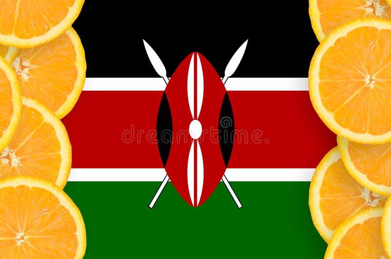 Флаг Кении в рамке кусков цитрусовых фруктов вертикальной бесплатная иллюстрация