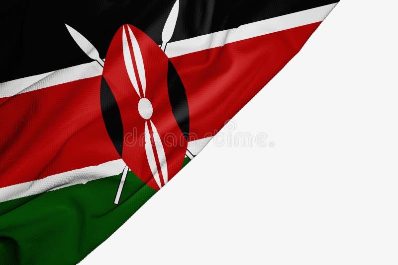 Флаг Кении ткани с copyspace для вашего текста на белой предпосылке иллюстрация вектора