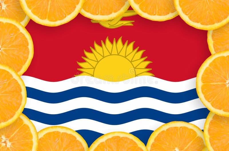 Флаг Кирибати в свежей рамке кусков цитрусовых фруктов иллюстрация вектора