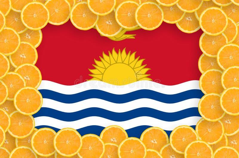 Флаг Кирибати в свежей рамке кусков цитрусовых фруктов иллюстрация штока