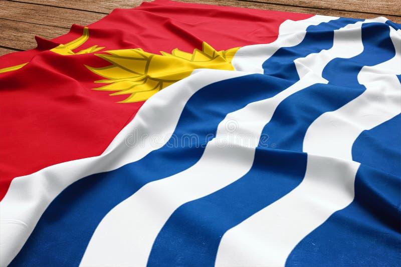 Флаг Кирибати на деревянной предпосылке стола Взгляд сверху флага шелка стоковые фотографии rf