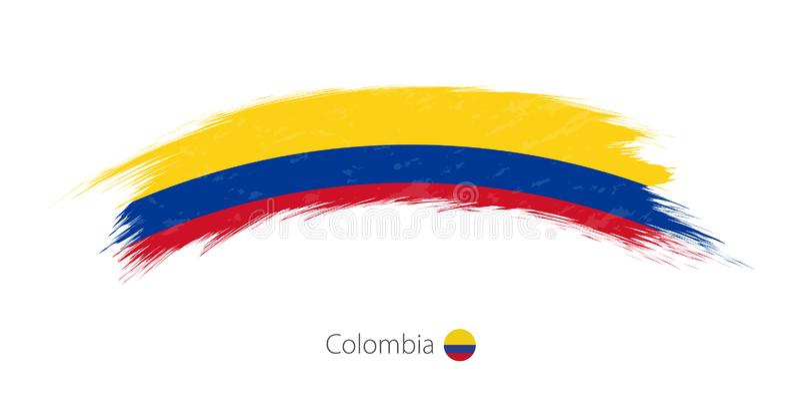 Флаг Колумбии в округленном ходе щетки grunge иллюстрация штока