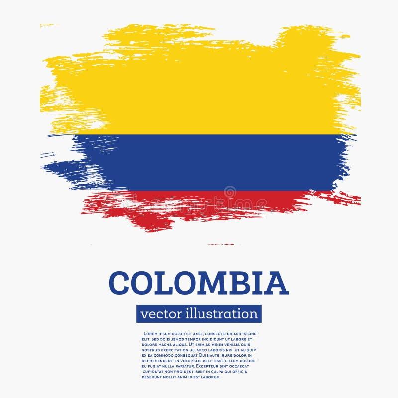 Флаг Колумбии с ходами щетки иллюстрация вектора